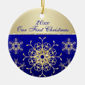 Blue, Gold 1st Christmas Keepsake Ornament