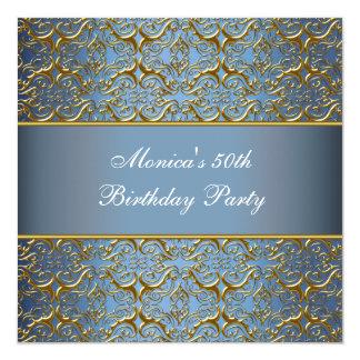 Blue Gold 50th Birthday Invitation Elegant 50