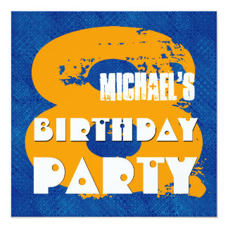 BLUE GOLD 8th Birthday Party 8 Year Old V11C Card
