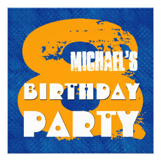 BLUE GOLD 8th Birthday Party 8 Year Old V11C Personalized Invitation