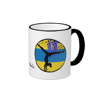Blue Gold Abstract Art Gymnast Personalized Ringer Mug