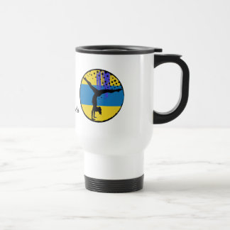 Blue Gold Abstract Art Gymnast Personalized Travel Mug