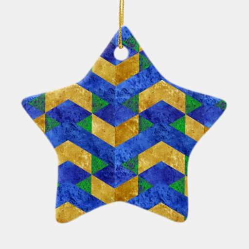 Blue gold abstract chevron double sided star ceramic for Christmas tree with gold and blue ornaments