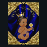 "Blue Gold African American Prince Baby Shower Invitation<br><div class=""desc"">Ethnic prince baby shower invitation with ethnic Hispanic Indian African American prince on a fancy ornate royal blue and gold swirl background. This beautiful royal blue and gold prince baby shower invitation is easily customized for your event by simply adding your details in the font style and color, and wording...</div>"