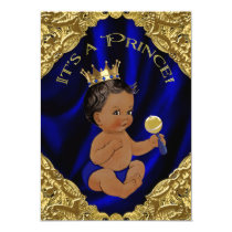 Blue Gold African American Prince Baby Shower Invitation