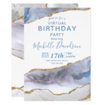 Blue & Gold Agate Virtual Birthday  Invitation