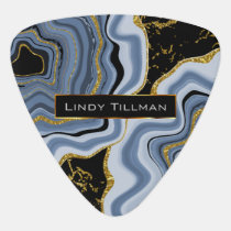 Blue, Gold and Black Agate Geode Stone 🎸 Guitar Pick
