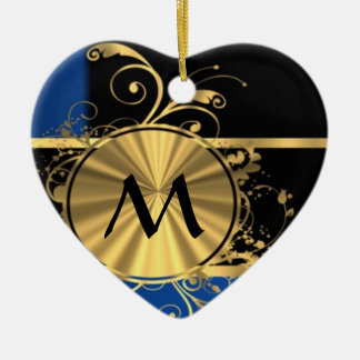 Blue gold and black monogram Double-Sided heart ceramic christmas ornament