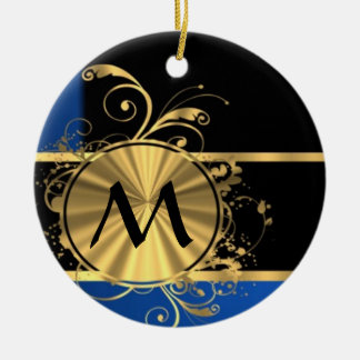 Blue gold and black monogram Double-Sided ceramic round christmas ornament