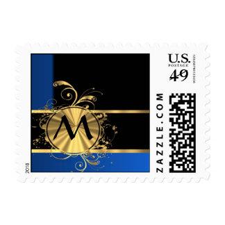 Blue gold and black monogram stamp