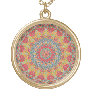 Blue, Gold and Maroon Mandala Kaleidoscope Gold Plated Necklace