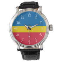 Blue Gold and Red Wrist Watch