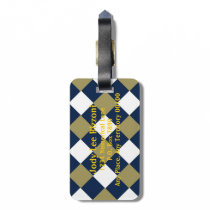 Blue Gold and White-Checked Bag Tag