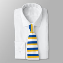 Blue Gold and White Horizontally-Striped Tie