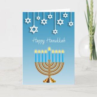 Blue Gold and White Menorah Happy Hanukkah Card