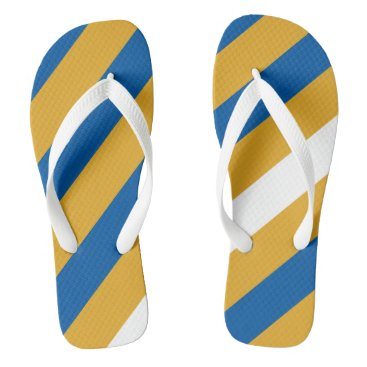 Beach Themed Blue Gold and White Striped Flip Flops