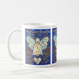 Blue Gold Angel Cancer Cannot Poem Coffee Mug