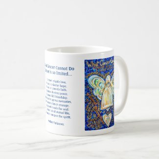 Blue Gold Angel Cancer Cannot Poem Coffee Mugs