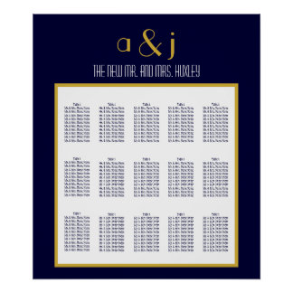 Blue Gold Art Deco Wedding Seating Chart 150 Poster