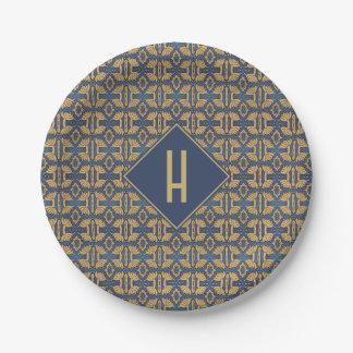 Blue Gold Art Nouveau Monogram Floral Paper Plate