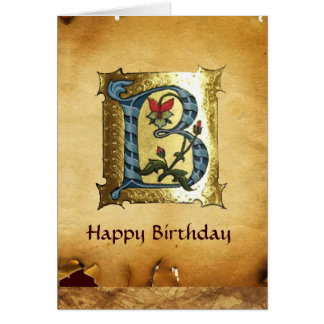 BLUE GOLD B LETTER WITH FLOWERS MONOGRAM Birthday Greeting Cards