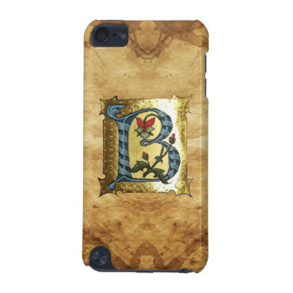 BLUE GOLD B LETTER WITH FLOWERS MONOGRAM iPod TOUCH (5TH GENERATION) CASE