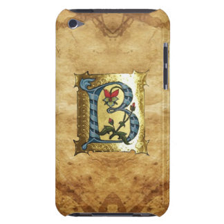 BLUE GOLD B LETTER WITH FLOWERS MONOGRAM BARELY THERE iPod CASE