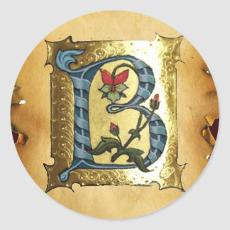 BLUE GOLD B LETTER WITH FLOWERS MONOGRAM CLASSIC ROUND STICKER