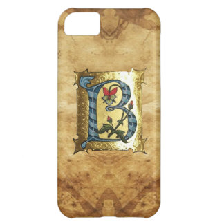 BLUE GOLD B LETTER WITH FLOWERS MONOGRAM COVER FOR iPhone 5C