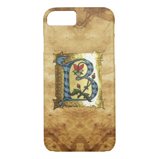 BLUE GOLD B LETTER WITH FLOWERS MONOGRAM iPhone 7 CASE