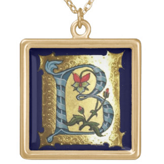 BLUE GOLD B LETTER WITH FLOWERS MONOGRAM JEWELRY