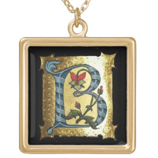 BLUE GOLD B LETTER WITH FLOWERS MONOGRAM NECKLACES