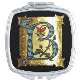 BLUE GOLD B LETTER WITH FLOWERS MONOGRAM COMPACT MIRROR