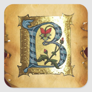 BLUE GOLD B LETTER WITH FLOWERS MONOGRAM SQUARE STICKER
