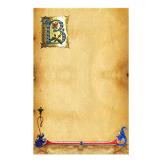 BLUE GOLD B LETTER WITH FLOWERS MONOGRAM STATIONERY PAPER