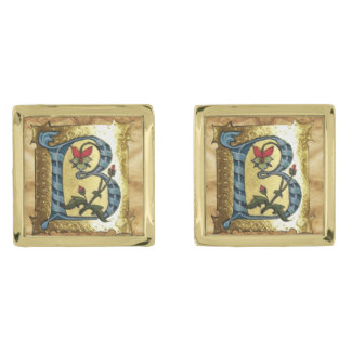BLUE GOLD B LETTER WITH FLOWERS MONOGRAM CUFFLINKS