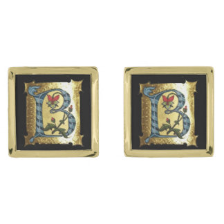 BLUE GOLD B LETTER WITH FLOWERS MONOGRAM GOLD FINISH CUFF LINKS