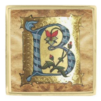 BLUE GOLD B LETTER WITH FLOWERS MONOGRAM PIN