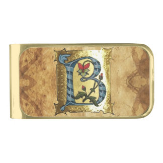 BLUE GOLD B LETTER WITH FLOWERS MONOGRAM GOLD FINISH MONEY CLIP