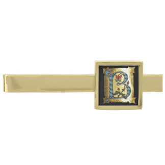BLUE GOLD B LETTER WITH FLOWERS MONOGRAM TIE BAR