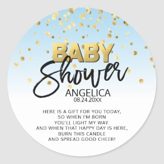 Blue Gold Baby Shower Candle Votive Favor Labels