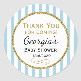 Blue Gold Baby Shower Thank You Coming Favor Tag