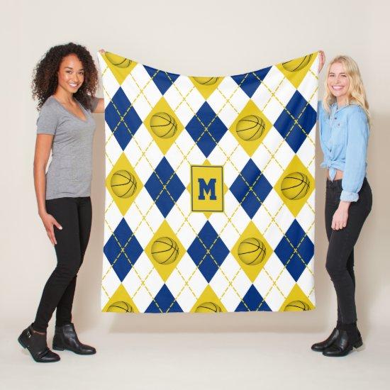 blue gold basketball team colors argyle fleece blanket