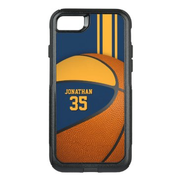 blue gold basketball team colors boys OtterBox commuter iPhone 8/7 case
