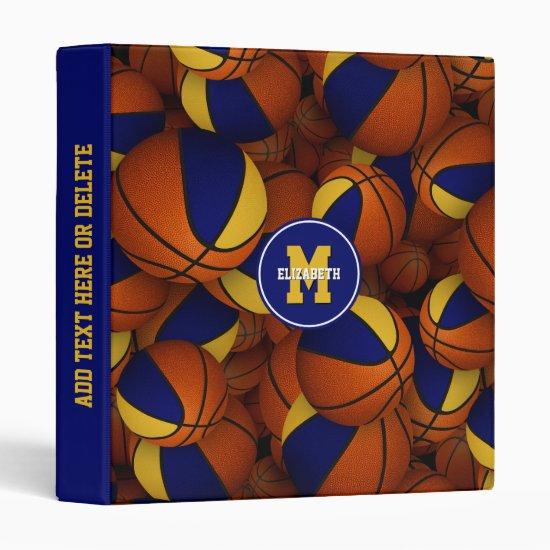blue gold basketballs kids back to school 3 ring binder