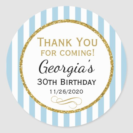 Blue Gold Birthday Thank You Coming Favor Tags