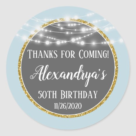 Blue Gold Birthday Thanks For Coming Favor Tags