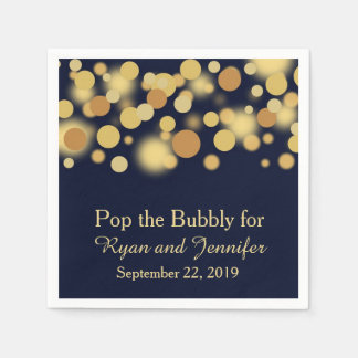Blue Gold Bokeh Personalized Wedding Napkins