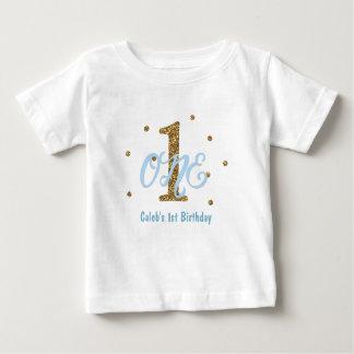 Blue & Gold Boys ONE 1st Birthday Party Custom T-shirt