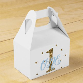 Blue & Gold Boys ONE 1st Birthday Party Favor Favor Box